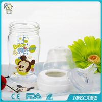 Glass baby feeding bottle