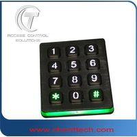 3x4 layout metal numeric backlit keypad with blue light