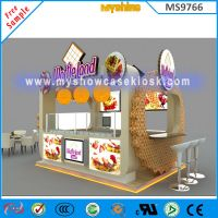 12x10feet food kiosk design waffle land kiosk for sale from China