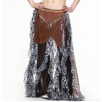 M-BL130 Women Belly Dance Long Dress Leopard Hip Scarf with Tassels thumbnail image