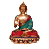 Brass statue of Lord Buddha with turquoise coral stone work - rare indian handmade craft
