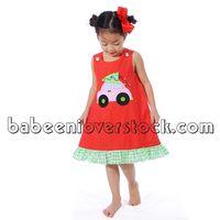 Cute X-mas tree car appliqued girl A-line dress - BB837 thumbnail image