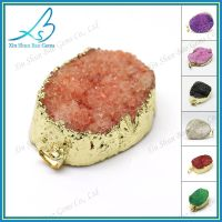 Free form colored natural druzy pendant wholesale thumbnail image