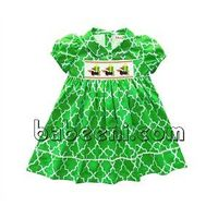 Cute dog and gift hand smocked dress for little girls thumbnail image