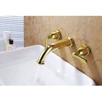 Luxury brass gold plated bathroom wall mounted lavatory faucet thumbnail image