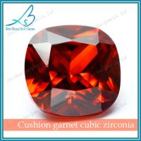 Cushion cut garnet large size synthetic cz diamond