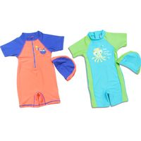 New style 1-12 year old boys / girls one-piece swimsuit children beachwear swimwear with swim cap