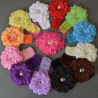 Hot sale Peony flower baby Headband/Kids crochet headband/Hair Accessories