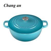 enameled cast iron dutch oven casserole with dual loop handle 25cm 27cm