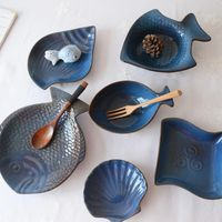 eco-friendly Ceramic cake set snack plate unique fish and seashell shape dishes thumbnail image