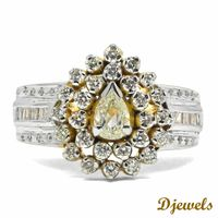 Pearl Shape White Yellow Engagement Ring 14K