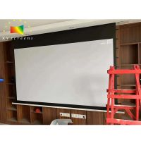 XYScreen Concealed Hidden In-ceiling Projector Screen electric tab tensioned screen for 4K projector