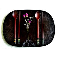 [Made in Korea]  Natural lacquer mother-of-pearl handmade table plate