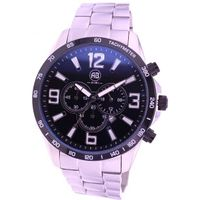 Men's sport fashion chronograph stainless steel bracelet quartz wrist watch