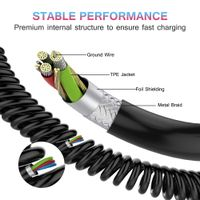 Type-C Coiled USB Cable, Charger Cord USB-C Power Wire thumbnail image