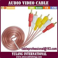 factory provide 3rca-3rca transparent audio video cable LF101