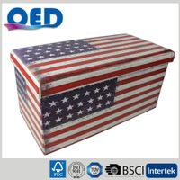PVC Leather Faux Leather the Stars and Stripes Printed Folding Storage Ottomans