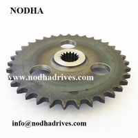 Splined roller chain sprocket with hard teeth