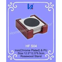 Sqaure Metal and Leather Coaster Set with Rosewood Stand