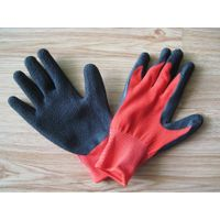 nylon knitted gloves with latex dipped, crinkle surface