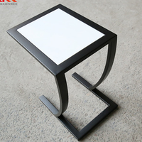 Hotel bedroom furniture coffee end table solid surface stone side table with metal base