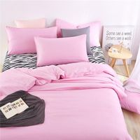 100% polyester microfiber plain dyed cheap bed sheet set bedding set pink color thumbnail image