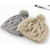 Fashion Knitting Hat  winter hat beanie  competitive prices winter knitted cable hat  with pom pom
