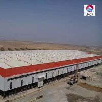 Prefab light steel frame industry cement warehouse red and grey protection panel warehouse