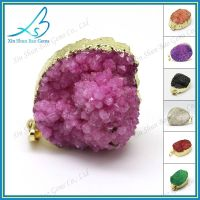 Hand made free form pink plated natural druzy stone pendant thumbnail image