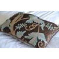 crewel pillow grapevine deep  olive cotton viscose velvet  boudoir sham (12x16)