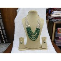 Green Pearl Necklace Set Traditional Jewelry Gift for Woman