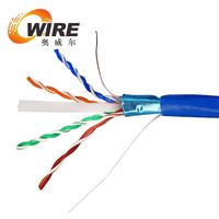 1000-Feet 23AWG Cat6 500MHz FTP Solid Riser Rated, CMR Bulk Ethernet Bare Copper Cable , Blue