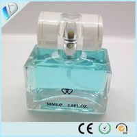 30ml blue glass perfume bottle with FEA15 plastic cap