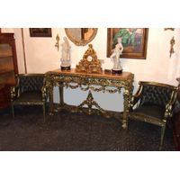 French Style Highly Carved Green Gilded & Patinated Console Set thumbnail image