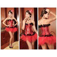 Sequin Lace Burlesque Corset Red thumbnail image