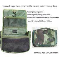 Camouflage hanging bath case, mini travel bag; thumbnail image