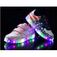 GD fashional colorful LED light shoes convenient hook&loop sneakers for childrens thumbnail image
