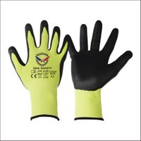 15 GaugeU2 Green Cut Level D Liner with Black PU Palm Coated