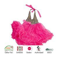 New Design Leopard with Bright Pink Chiffon Backless Halter Petti Dress