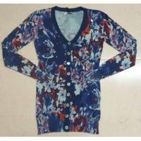 Lady silk knit cardigan with flower printing