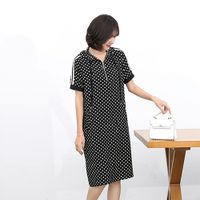 2020 summer women's dresses, ladies' moms, casual cool black and white wave dot dress