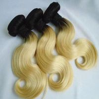 blond #613 hair weft, grey #60 wefted hair omber color weft hair