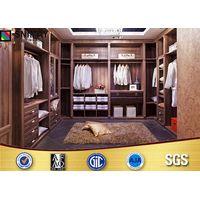 U Shape Dark Wood Modern Bedroom Wardrobes Clothes Storage Closet