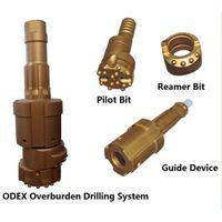 High pressure odex eccentric overburden drilling bit system