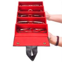 Wholesale Black PU Leather Foldable Eyewear Storage Box
