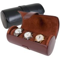 4-watch High quality Dark red leather pillows watch roll case for travel storage