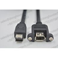 Customized IEEE 1394 Firewire Cable / IEEE 1394A Extension Cables Panel Mount 6Pin Female to Male