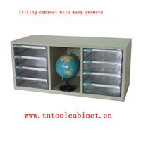 plastic drawer file cabinet with many clear drawers
