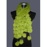 Rabbit fur pompon scarf