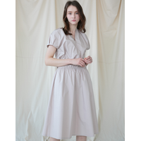 Coett Puff Sleeve Dress (Beige/Navy)
